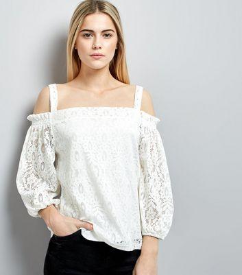 White Lace Cold Shoulder Top
