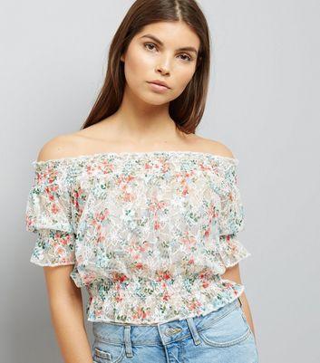 White Floral Print Lace Bardot Neck Top