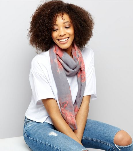 Grey Rose Print Longline Scarf | New Look