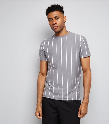 Pale Grey Pinstripe Print T-Shirt  | New Look