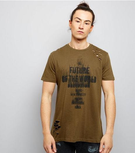 Khaki Ripped Future Of The World Print T-Shirt | New Look