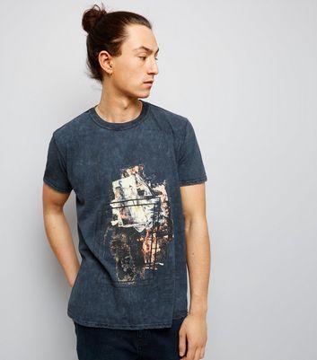 Dark Grey Acid Wash Brush Stroke Print T-Shirt