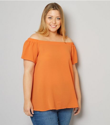 Curves Orange Crepe Bardot Neck Top  | New Look