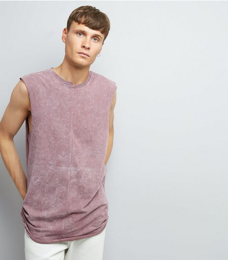Pink Acid Washed Spliced Neck Tank Top | New Look
