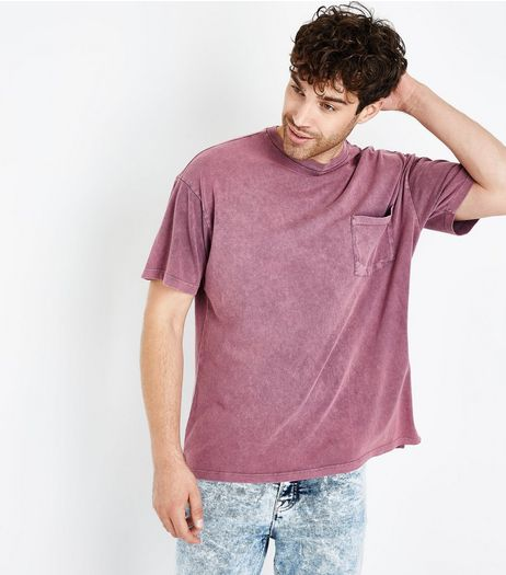 Pink Acid Wash Front Pocket T-Shirt  | New Look