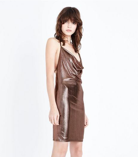 Rose Gold Metallic Cowl Neck Dress | New Look