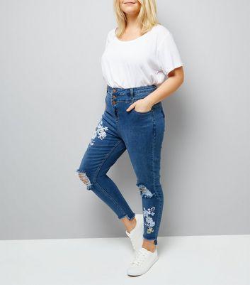 Curves Blue Floral Print High Waist Step Hem Skinny Jeans
