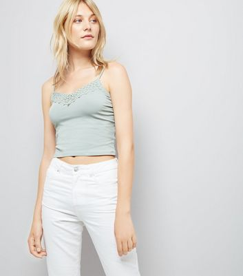 Mint Green Lace Trim Crop Top