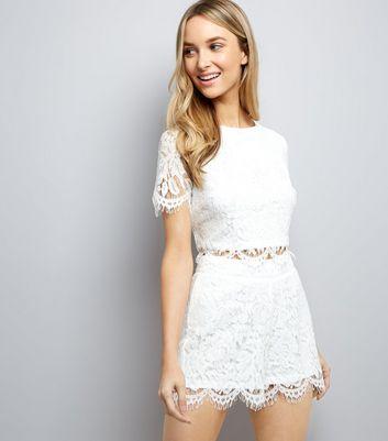White Lace Scallop Hem Crop Top