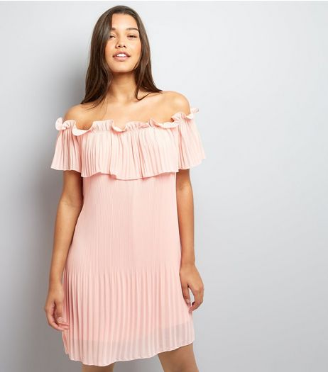 Cameo Rose Shell Pink Bardot Neck Dress  | New Look