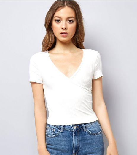 White Ribbed V Neck Wrap Front T-Shirt | New Look
