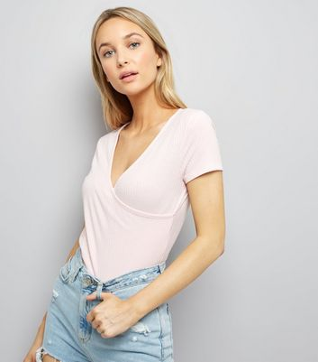 Shell Pink Ribbed V Neck Wrap Front T-Shirt