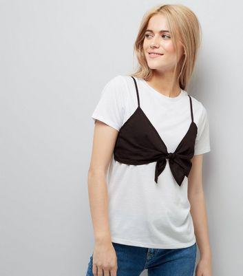 White Contrast Bra Detail T-Shirt