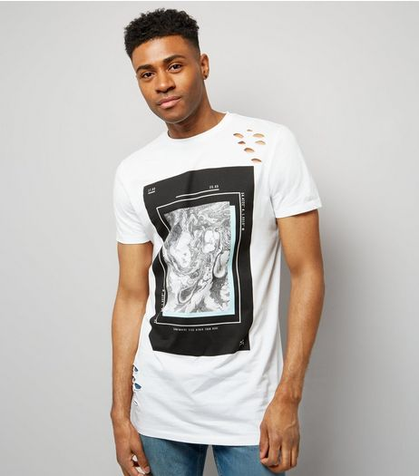 White Ripped Marble Print Longline T-Shirt | New Look