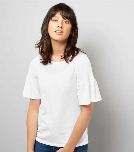 White Shirred Shoulder T-Shirt | New Look
