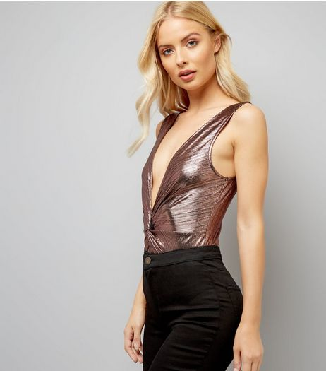 Rose Gold Ribbed Twist Front Bodysuit | New Look