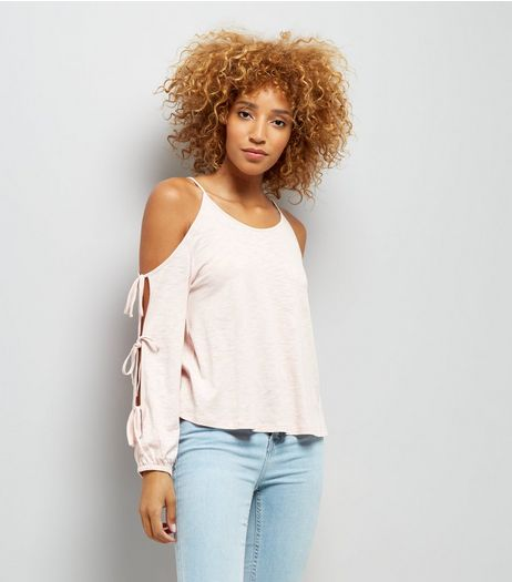 Pink Cold Sholder Tie Sleeve Top | New Look
