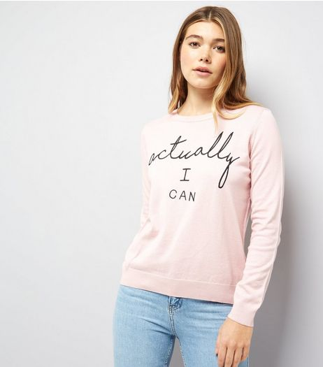 Shell Pink Actually I Can Print Jumper | New Look