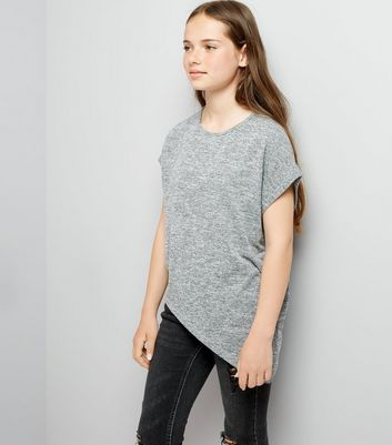 Teens Grey Marl Asymmetric Hem T-Shirt