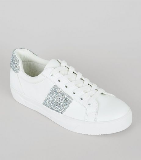 White Diamante Panel Lace Up Trainers | New Look