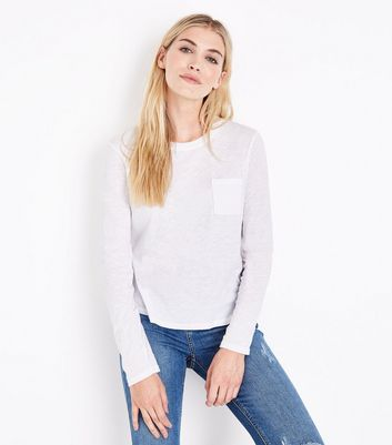White Organic Cotton Long Sleeve Pocket Front T-Shirt