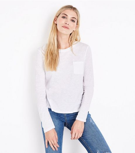 White Organic Cotton Long Sleeve Pocket Front T-Shirt | New Look
