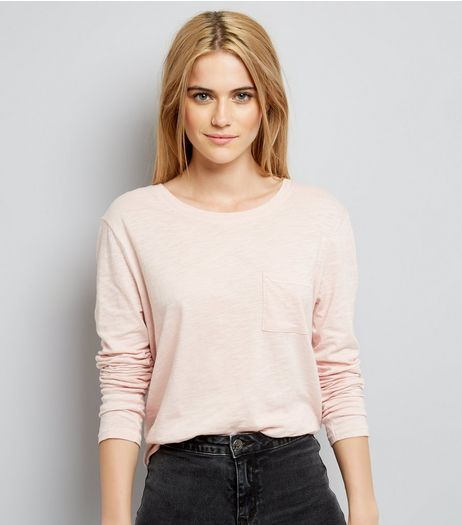Pink Organic Cotton Long Sleeve Pocket Front T-Shirt | New Look