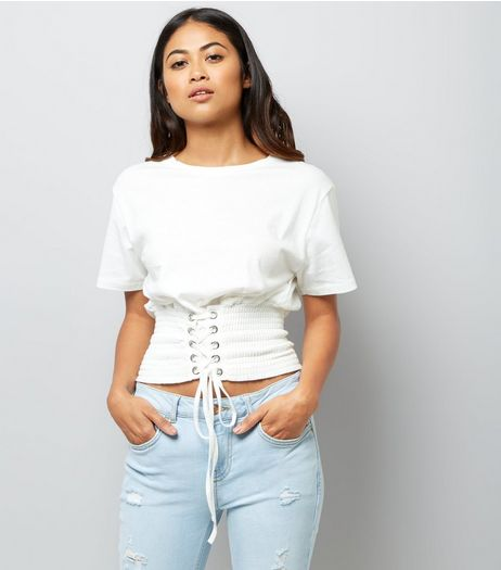 Petite White Shirred Corset T-Shirt  | New Look