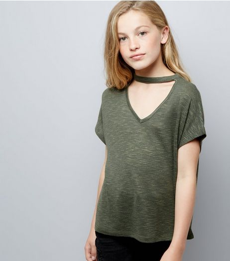 Teens Green Choker Neck T-Shirt  | New Look