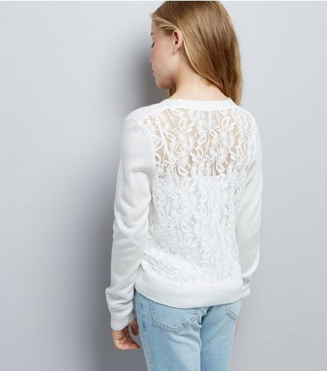 Teens White Lace Back Cardigan | New Look