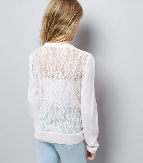 Teens Shell Pink Lace Back Cardigan | New Look