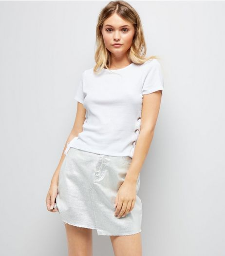 White Lace Up Side Ribbed T-Shirt  | New Look