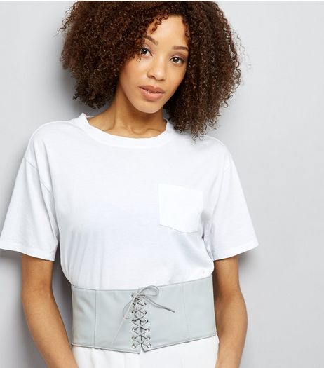 Grey Lace Up Corset Belt | New Look
