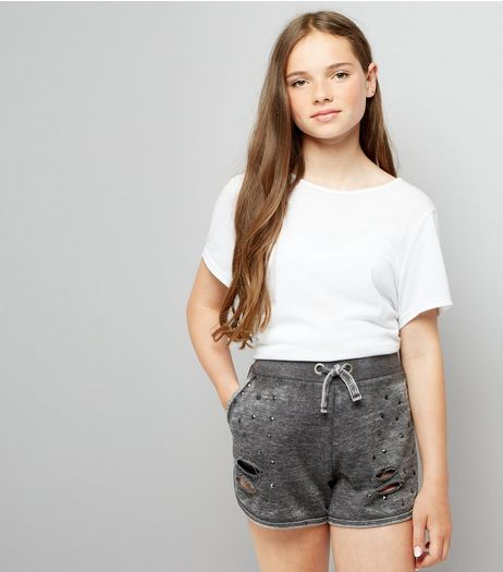 Teens Grey Studded Jersey Shorts  | New Look