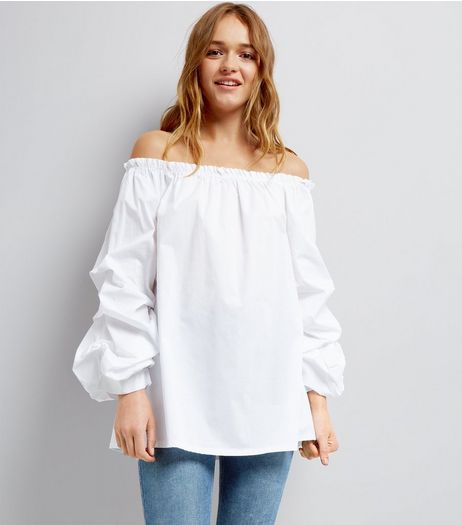 Cameo Rose White Ruched Sleeve Bardot Top | New Look