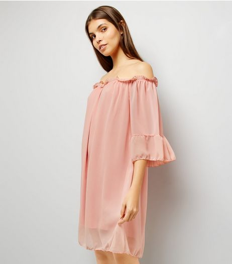 Cameo Rose Shell Pink Chiffon Frill Bardot Neck Dress | New Look
