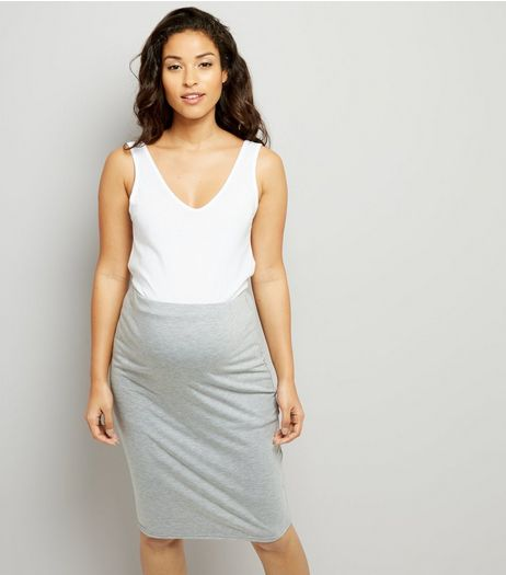 Maternity Grey Jersey Midi Skirt | New Look