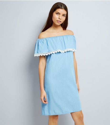 Blue Crochet Trim Bardot Dress | New Look