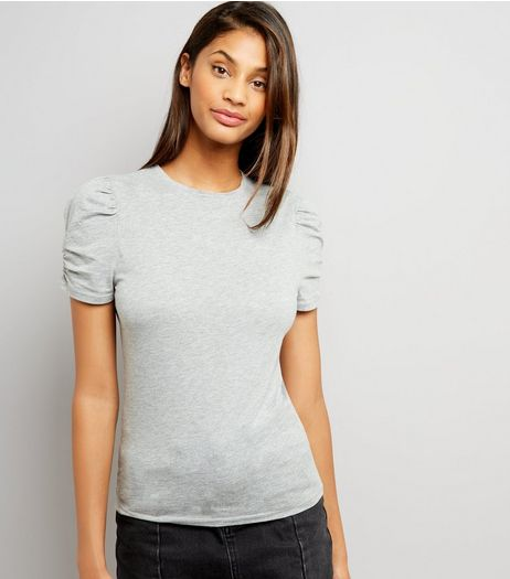 Tall Grey Ruched Sleeve T-Shirt | New Look
