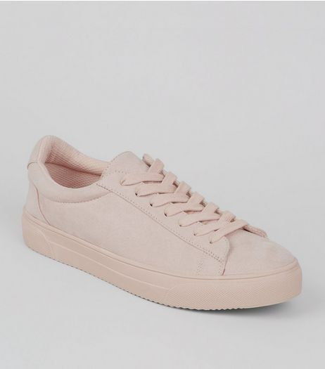 Nude Pink Lace Up Trainers  | New Look