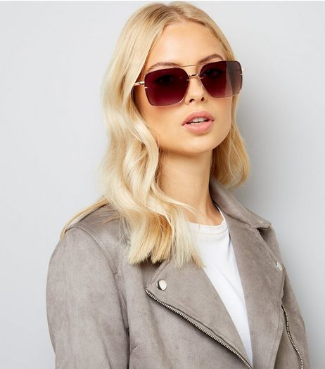 Rose Gold Oversized Square Tinted Sunglasses | New Look