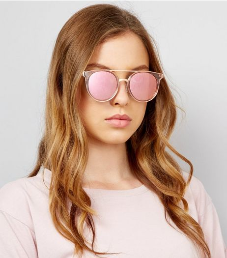 Pink Lens Mirrored Glasses  | New Look