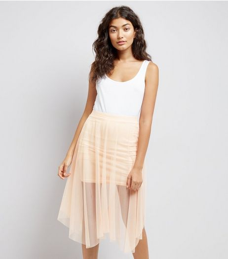 Shell Pink Mesh Hanky Hem Skater Skirt  | New Look