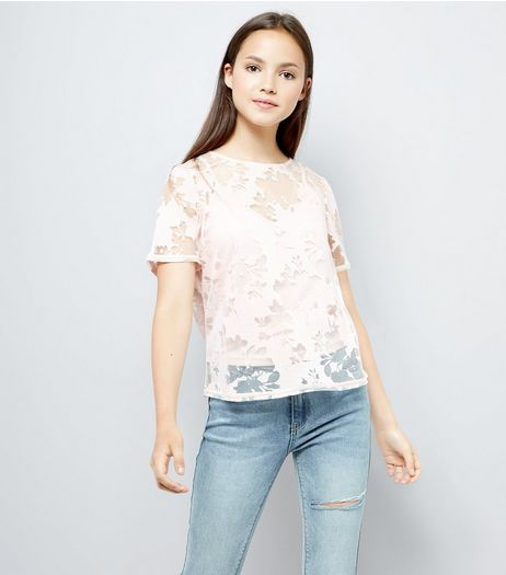 Teens Pink Floral Burnout T-Shirt  | New Look