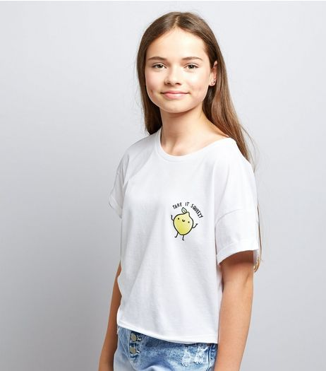 Teens White Take It Squeezy Logo T-Shirt | New Look