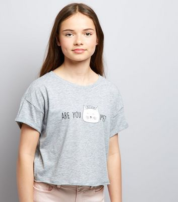 Teens Grey Are You Kitten Me Slogan T-Shirt