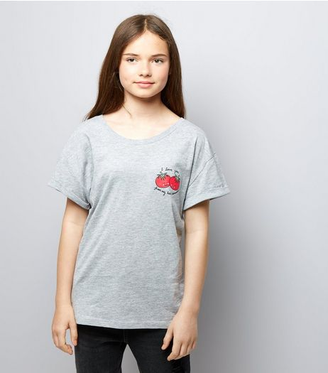 Teens Grey Tomatoes Slogan T-Shirt | New Look