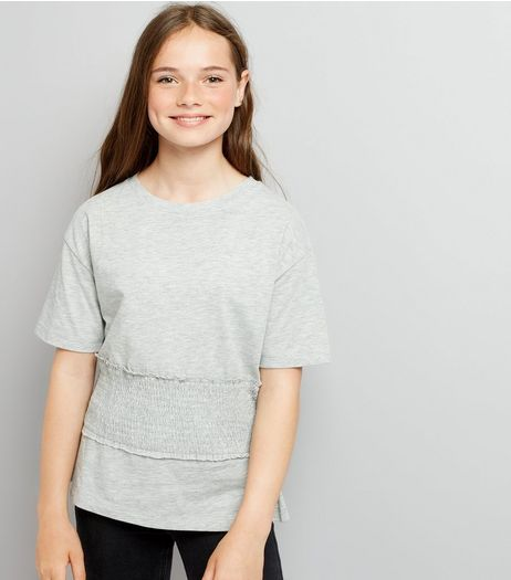 Teens Grey Shirred Waist T-Shirt | New Look
