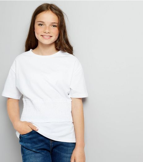 Teens White Shirred Waist T-Shirt  | New Look