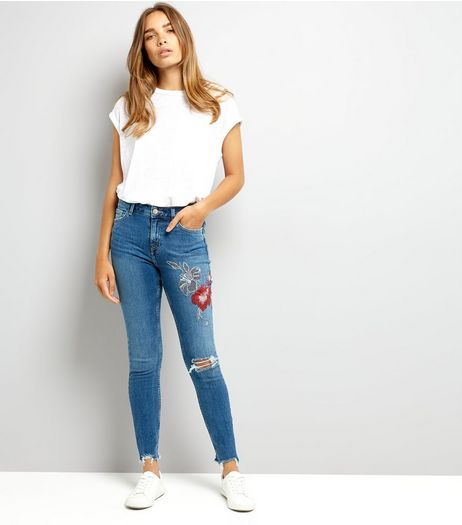 Blue Floral Embroidered Skinny Jenna Jeans | New Look